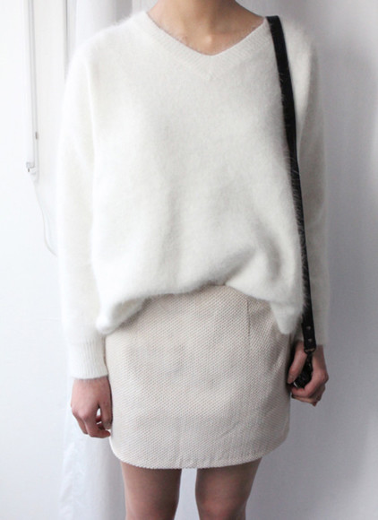 sweater white tumblr white sweater girl fashion white wool sweater wool sweater white skirt model