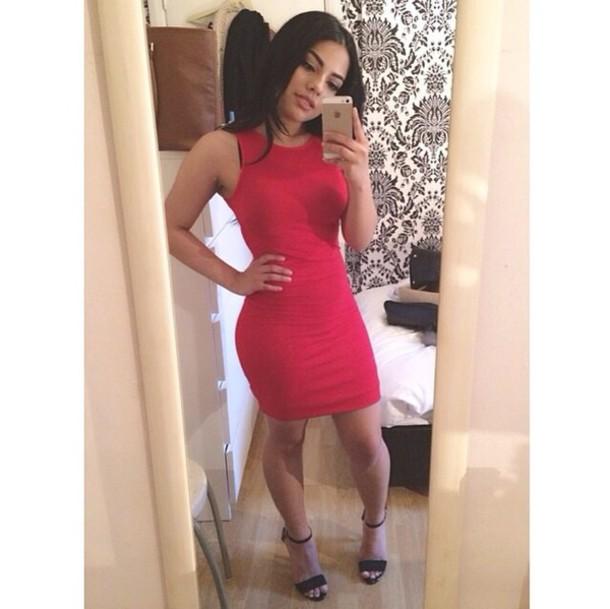 Red Dress Black Heels Bodycon Dress Dress Wheretoget
