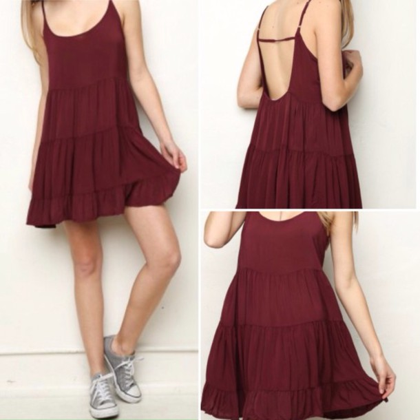 90fa1b0e7fb1 dress red dress maroon burgundy brandy melville free people urban  outfitters pretty summer dress spring