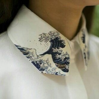 shirt white hokusai blouse white blouse detailing waves oriental print wave smart tumblr vintage retro