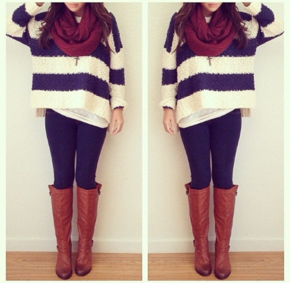 scarf sweater shoes boots nude fall outfits