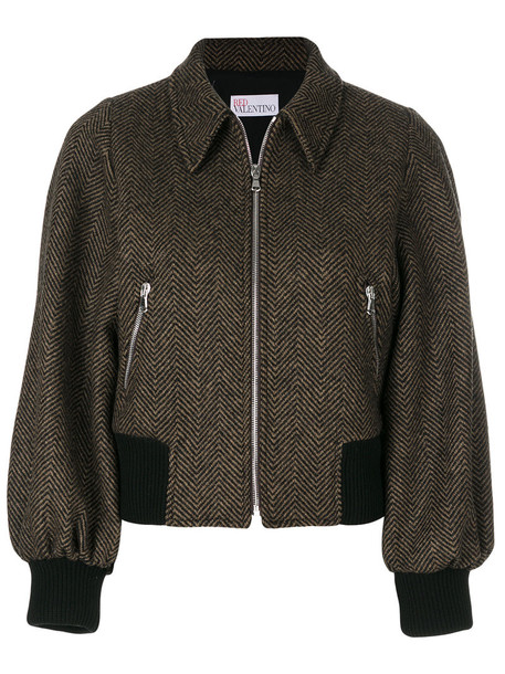 RED VALENTINO jacket bomber jacket embroidered women cotton silk wool knit brown