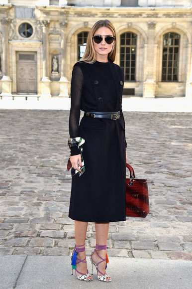 dress olivia palermo fashion week 2014 coat blouse shoes sandals high heels