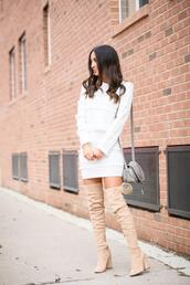 the material girl,blogger,top,skirt,boots,over the knee boots,shoulder bag,spring outfits