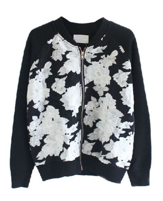 Black and White Rose Pattern Zip Wool Cardigan