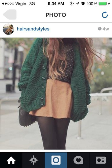 scarf green skirt knitwear cardigan knitted cardigan fall outfits fall sweater tank top forest green