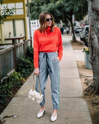 top red top pants grey pants plaid plaid pants bag white bag shoes white shoes gucci