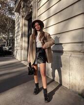 skirt,leather skirt,mini skirt,wrap skirt,black skirt,turtleneck,biker boots,blazer,oversized,handbag,hat