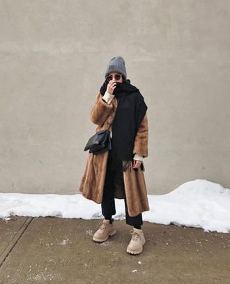 coat tumblr winter outfits winter coat camel camel coat fur coat scarf beanie grey beanie bag shoes pants