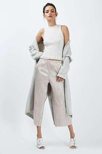 pants metallic wide-leg pants