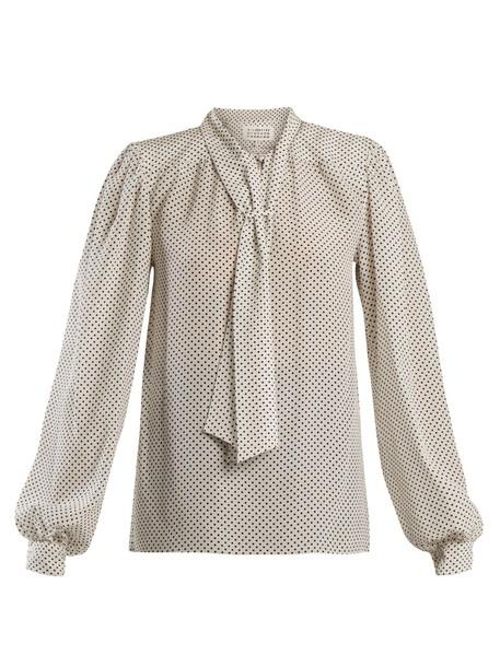 MAISON MARGIELA blouse print silk white black top