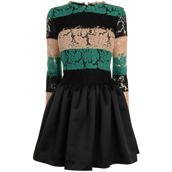 MSGM Lace Stripe Satin Skirt Dress