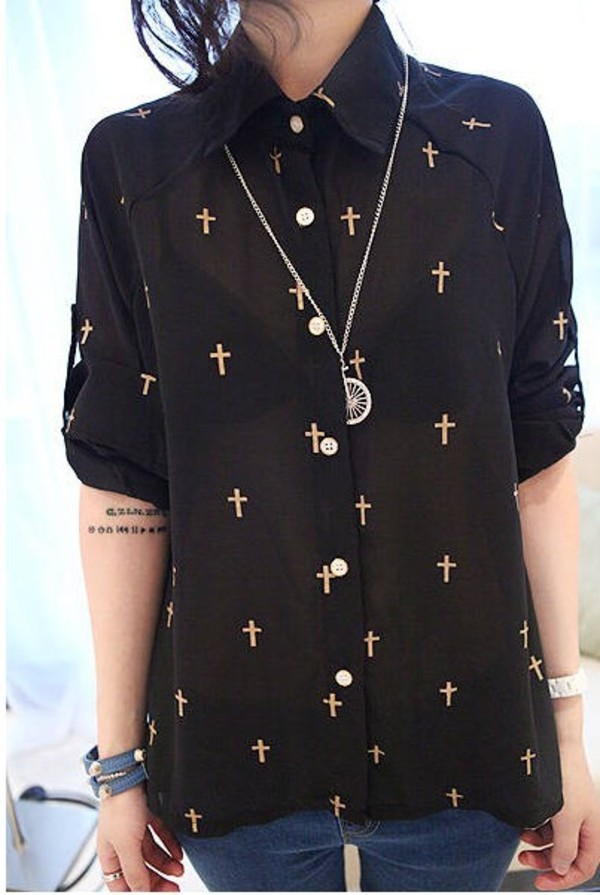 blouse gold cross black shirt