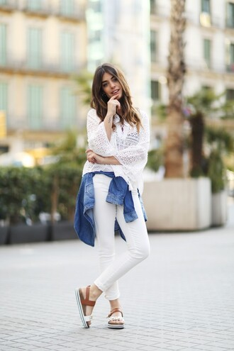 dulceida blogger shoes long sleeves white top white lace top white jeans denim jacket sandals