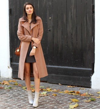 peexo blogger coat dress shoes bag patent boots grey boots ankle boots high heels boots camel camel coat mini dress grey dress brown bag winter outfits valentines day date outfit date dress