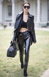 pants,bella hadid,jacket,fall outfits,all black everything,model off-duty,milan fashion week 2016,sunglasses,bag