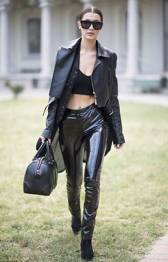pants bella hadid jacket fall outfits all black everything model off-duty milan fashion week 2016 sunglasses bag