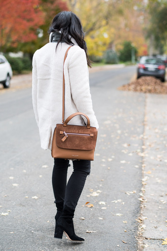 the fancy pants report blogger sweater shoes top bag fall outfits brown bag ankle boots black jeans
