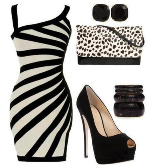 dress zebra shoes animal print sexy black and white dress