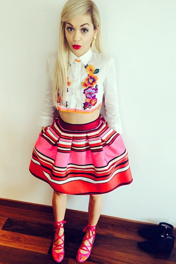 top rita ora shoes skirt