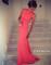 Elegant coral square neckline sweep train prom dresses, evening dresses