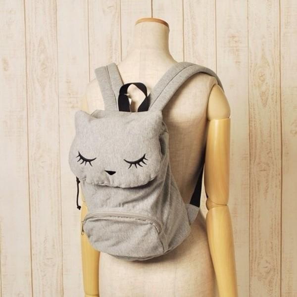 Bag: kawaii, backpack, grey, cats, cats, cute, bookbag, girly ...