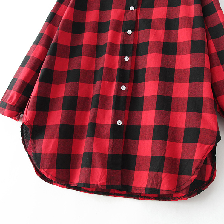 Red hooded long sleeve plaid loose blouse