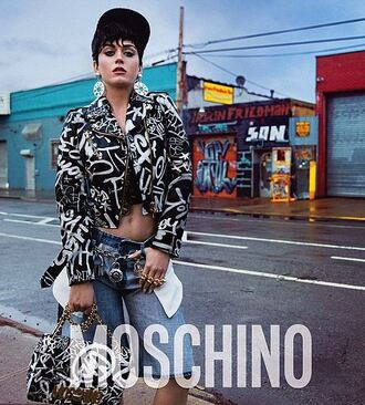 jacket katy perry jeans accessories earrings purse moschino