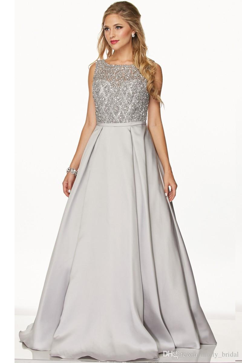 2017 Designer Silver Prom Dresses Long Ball Gown Fully Beaded ...
