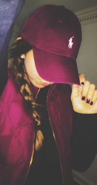 hat jacket cap baseball cap burgundy ralph lauren