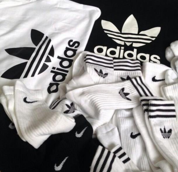 socks adidas nike shirt black and white t-shirt