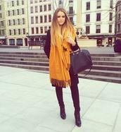 scarf,kayture,kristina bazan,mustard,fashionista,bag,zalando,givenchy bag,all black everything,streetstyle,blogger