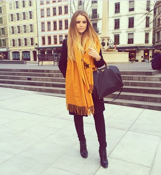 kayture bag scarf kristina bazan mustard yellow fashionable