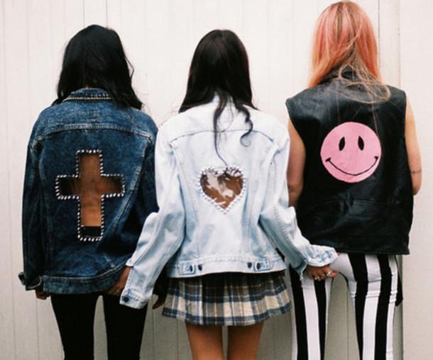 Jacket grunge tumblr denim jacket cross heart skirt ...