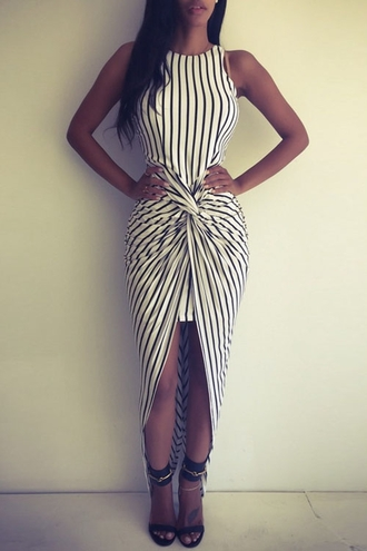 dress fashion stripes black and white vertical stripes asymmtrical racerback maxi dress sexy long maxi dress halter dress hot