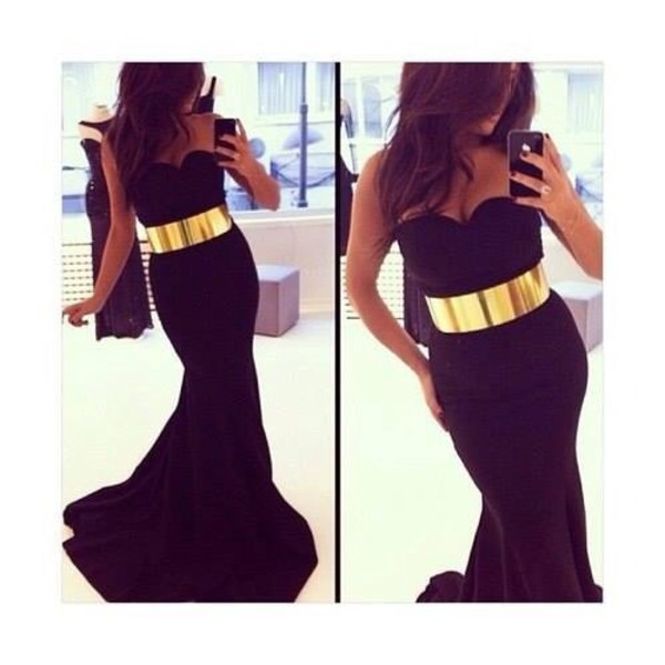 dress black maxi dress gold weheartit belt