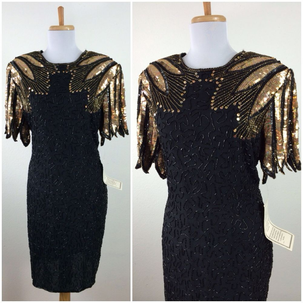 vintage 1980s black gold flapper style beaded sequin