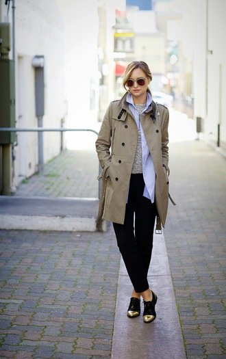 late afternoon blogger coat beige derbies black pants