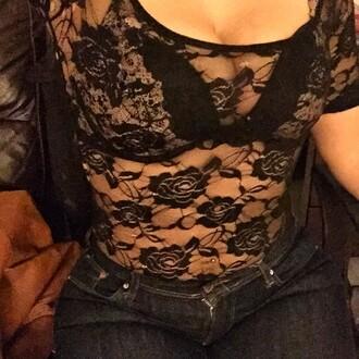 top lace bodysuit black floral
