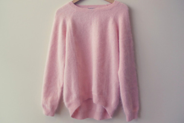 Sweater: pink sweater, pink, fuzzy sweater - Wheretoget