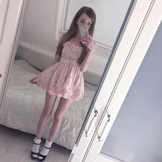 dress cute dress pink pink dress kawaii girly off the shoulder off the shoulder dress flowy pastel pastel tumblr tumblr