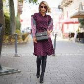 dress,midi dress,printed dress,long sleeve dress,boots,thigh high boots,crossbody bag,sunglasses