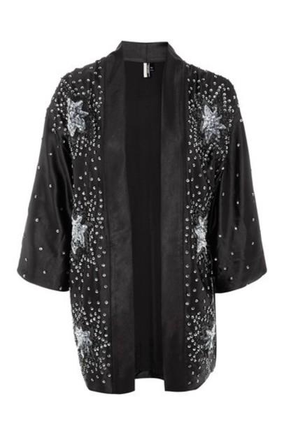 Topshop kimono embroidered black top