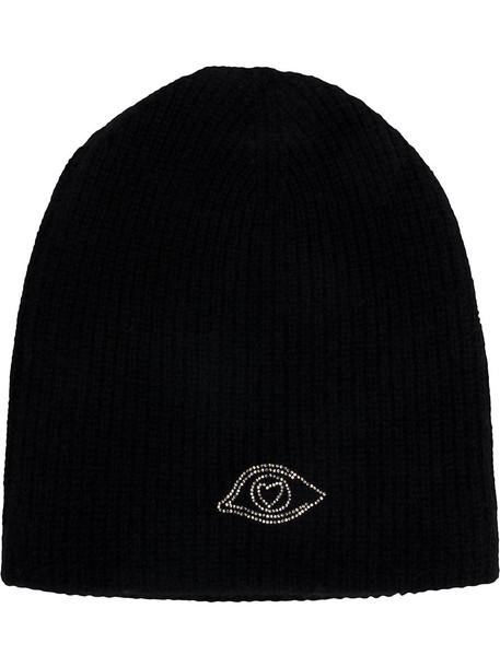 classic warm hat beanie knitted beanie black