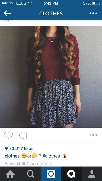 top burgandy shirt style sweater cute skirt floral skirt necklace crop tops maroon/burgundy