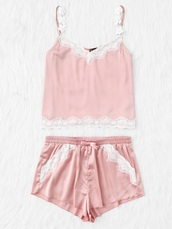 shorts,girly,two-piece,matching set,loungwear,crop tops,crop,pink,silk,satin,lace