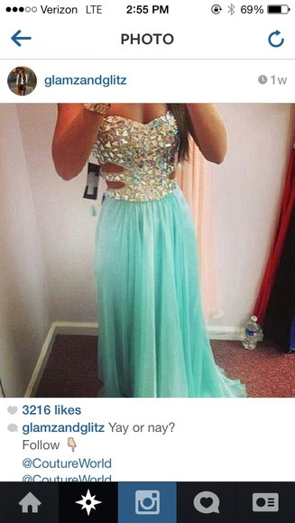 beaded dress teal dress long dress sparkly