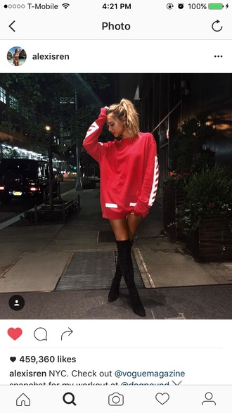 sweater red white alexis ren
