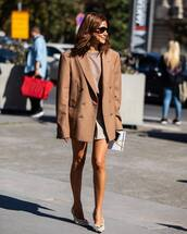 jacket,blazer,oversized blazer,mini skirt,blouse,pumps,high heel pumps,sunglasses