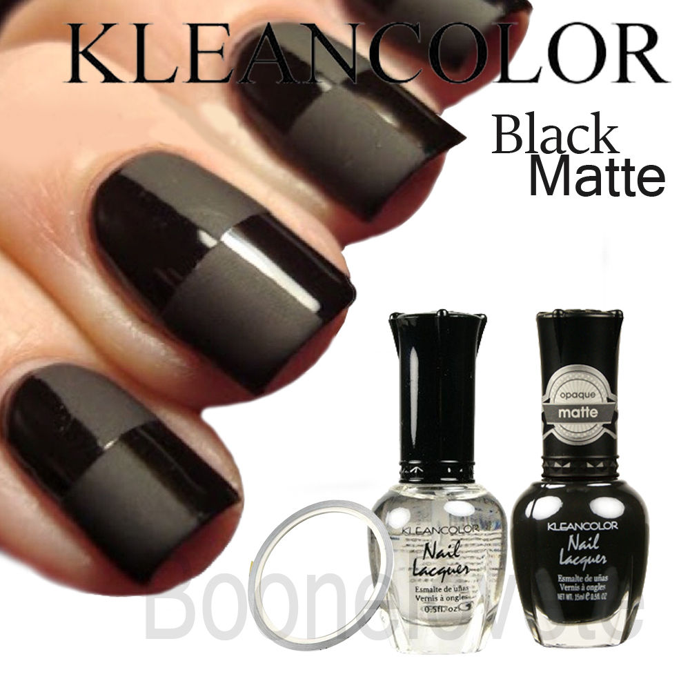 DIY Kleancolor Nail Polish Lacquer Black Matte Color Opaque